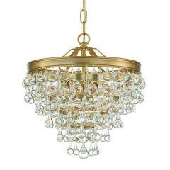 Calypso 3 Light Vibrant Gold Mini Chandelier