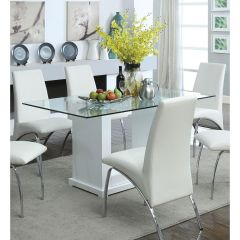 Calivega Furniture White Jarvis Contemporary Glass Top Dining Table - NB770173