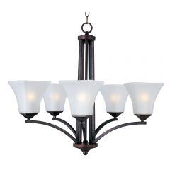 Contemporary Glass Aurora 5 Light Single-Tier Chandelier