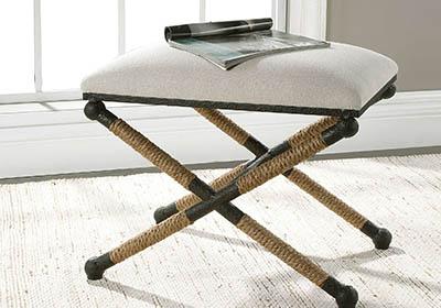 accent otoman crossed leg, fabric seat